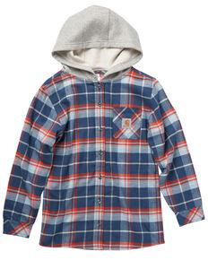 Carhartt Boys' Navy Long Sleeve Button Front Flannel Shirt , Navy, hi-res