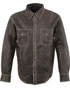 Milwaukee Leather Men's Grey Lightweight Leather Long Sleeve Western Shirt , Grey, hi-res