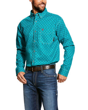 Ariat Men's Bluebird Jerico Geo Print Long Sleeve Work Shirt - Tall , Blue, hi-res