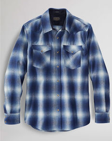 Pendleton Men's Grey Canyon Large Ombre Plaid Long Sleeve Western Flannel Shirt , Grey, hi-res
