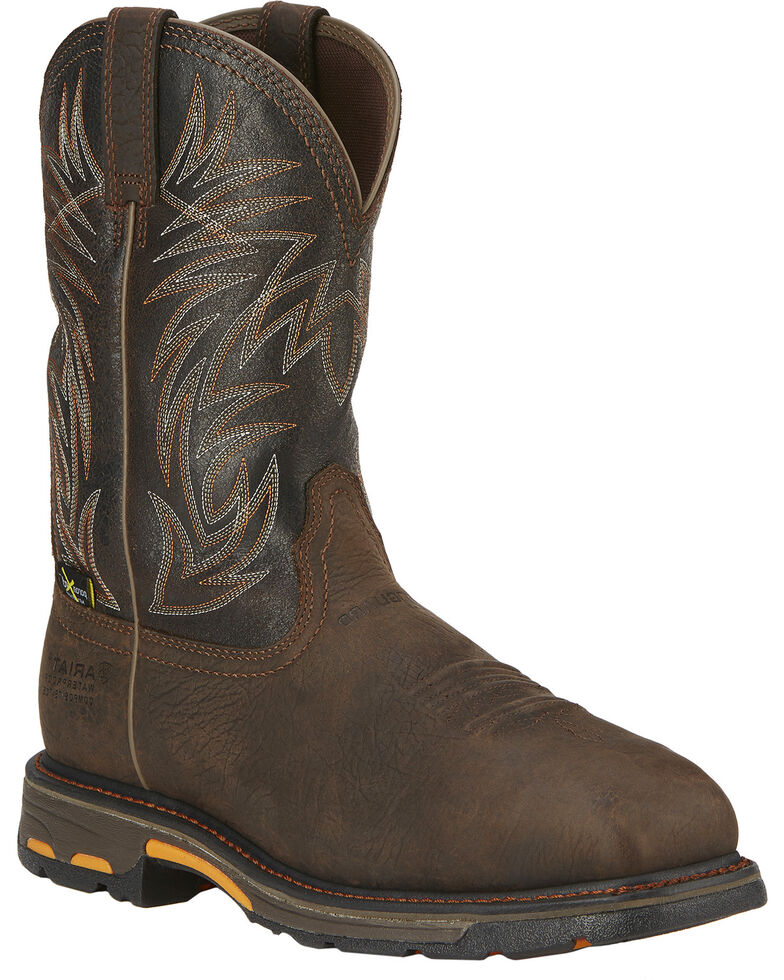 Ariat Men's Workhog Waterproof Western Work Boots - Composite Toe, Brown, hi-res