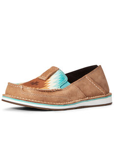 Ariat Women's Aztec Print Suede Cruiser Shoes - Moc Toe, Brown, hi-res