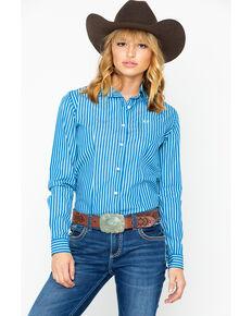 Panhandle Women's Stripe Long Sleeve Western Shirt, Teal, hi-res