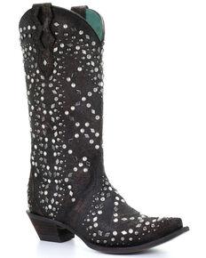 Corral Women's Black Full Studded Western Boots - Snip Toe, Dark Brown, hi-res
