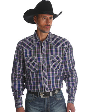 Wrangler Men's Plum 20X Advanced Comfort Competition Shirt, Purple, hi-res