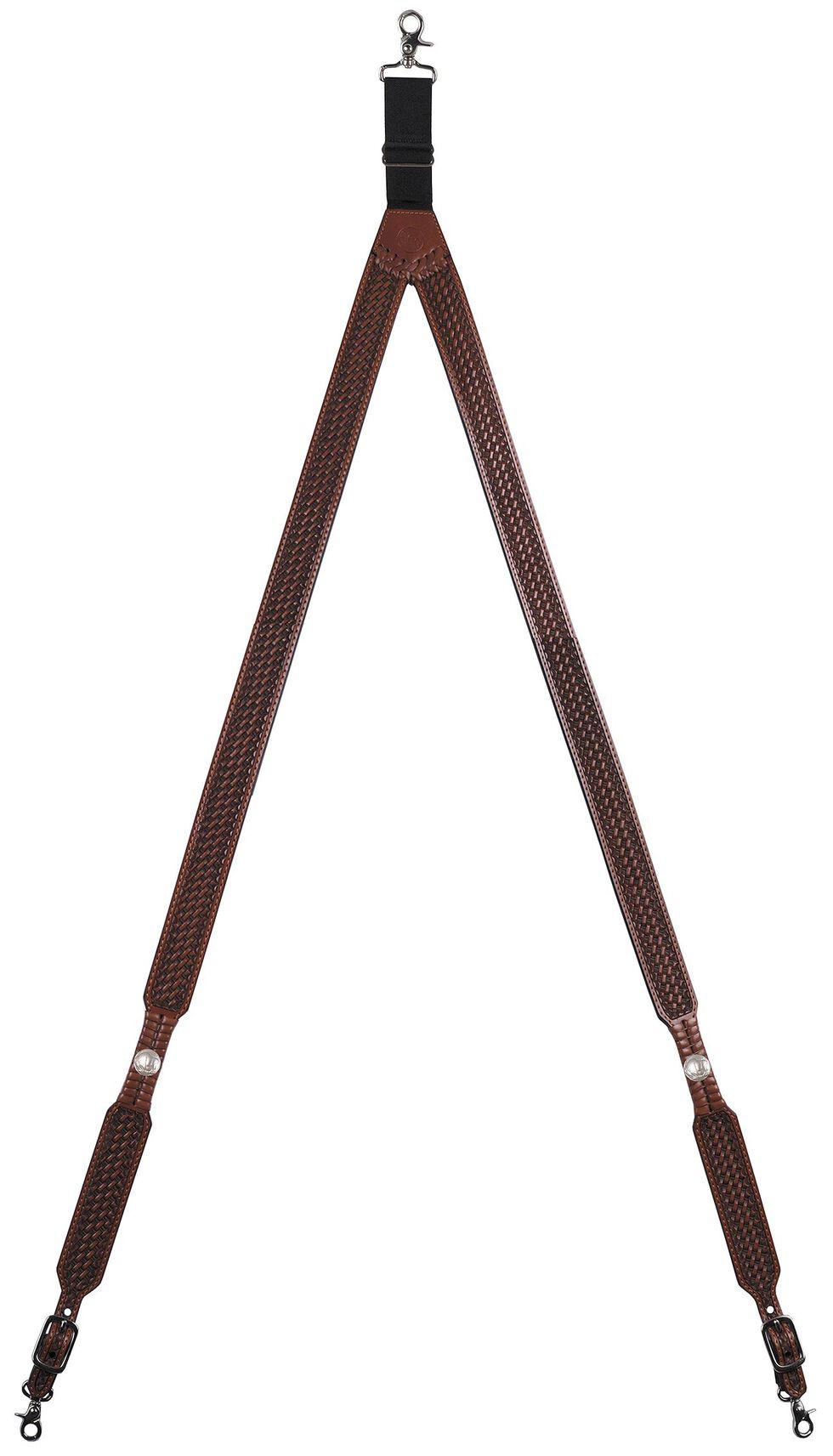 3D Basketweave Buffalo Concho Suspenders - XL, Tan, hi-res