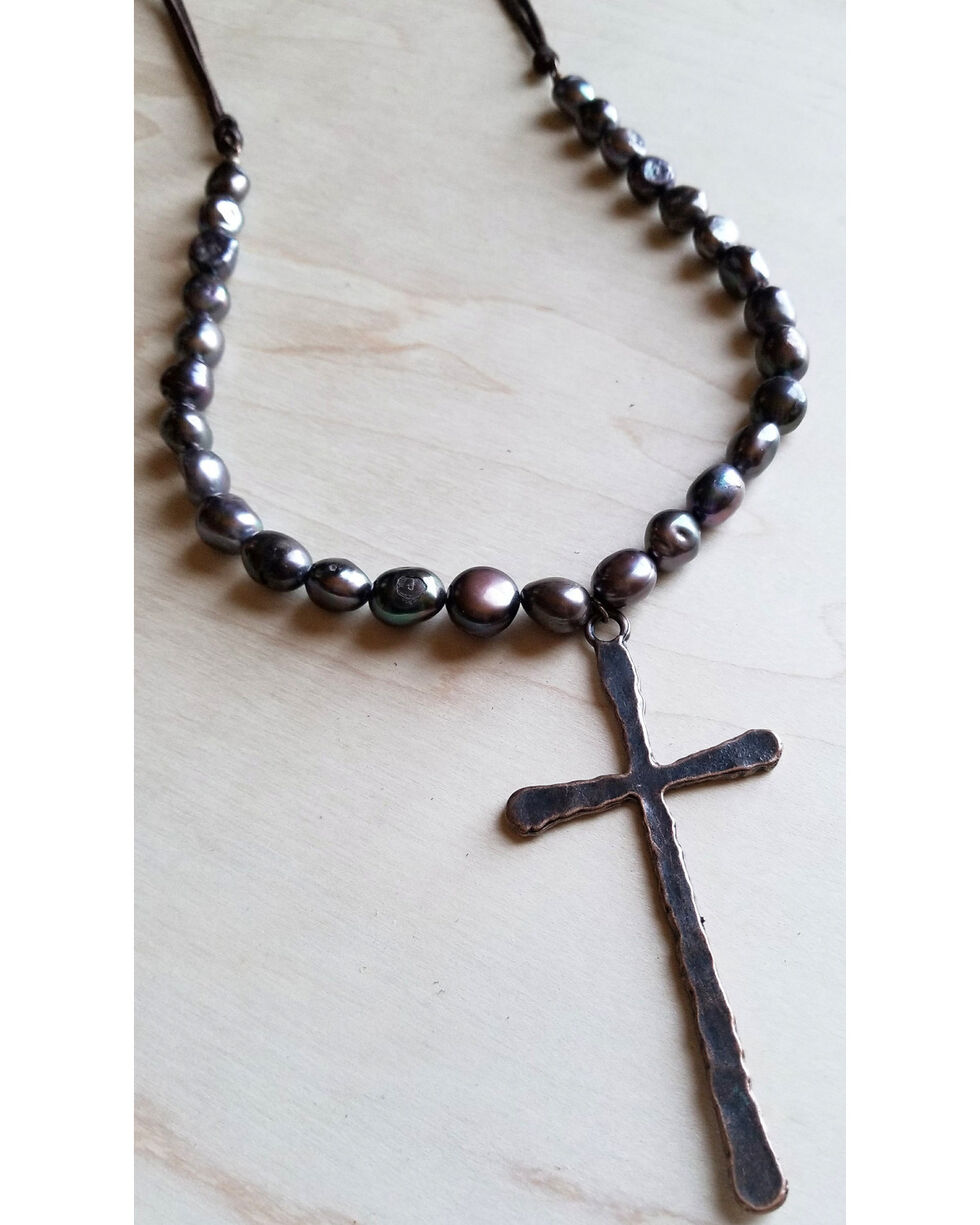 Jewelry Junkie Freshwater Black Pearl Coin Necklace with Large Copper Cross Pendant, Grey, hi-res