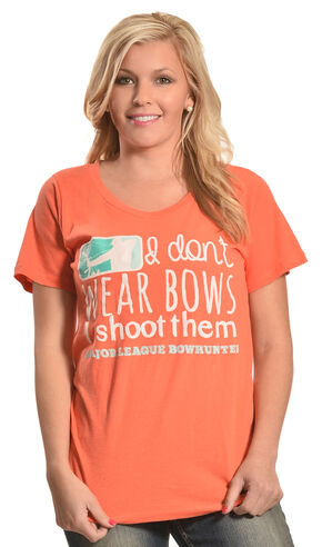 "Browning Women's Orange ""I Don't Wear Bows"" T-Shirt , Orange, hi-res"