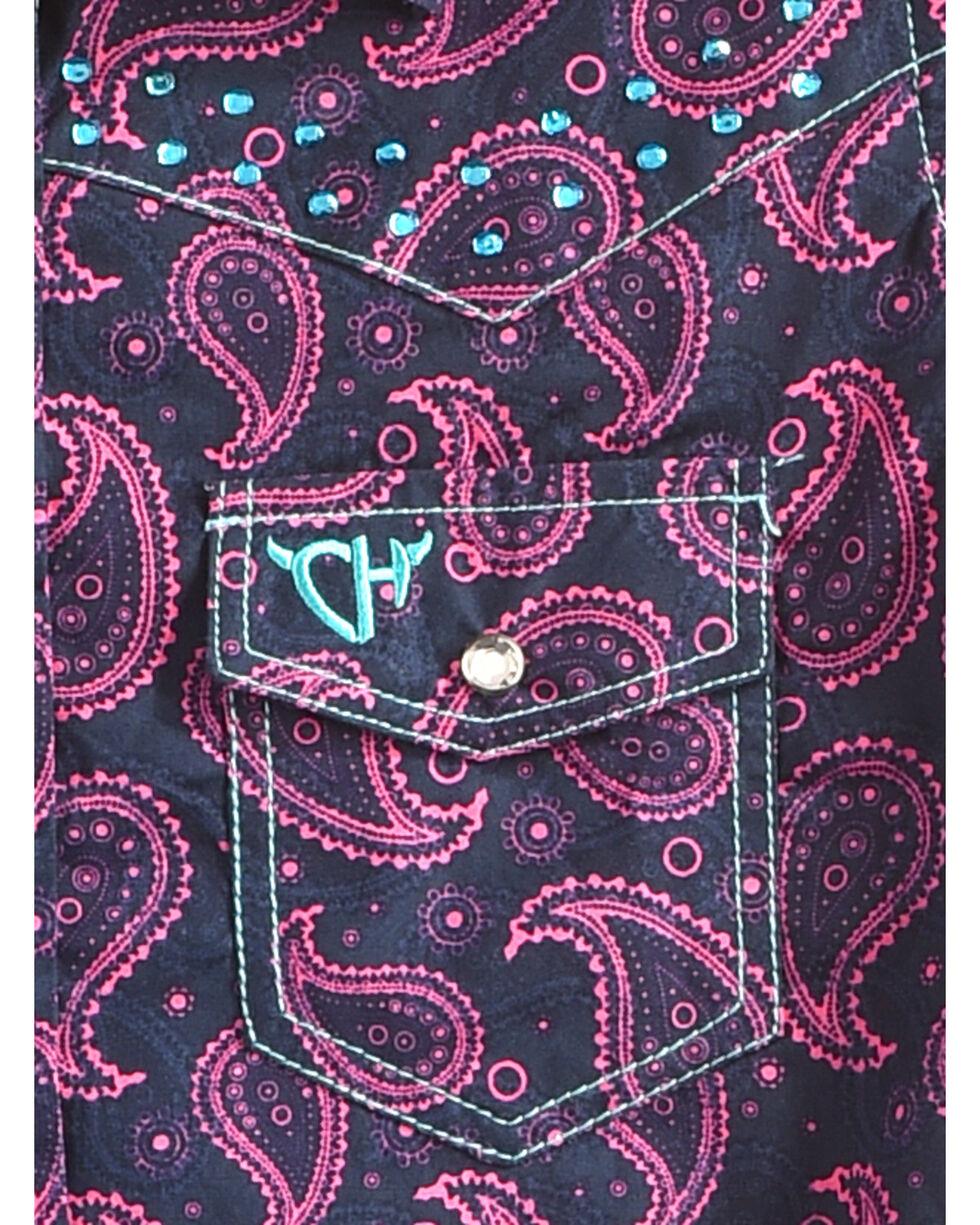 Cowgirl Hardware Girls' Two Tone Paisley Crystal Yoke Long Sleeve Snap Shirt, Black, hi-res