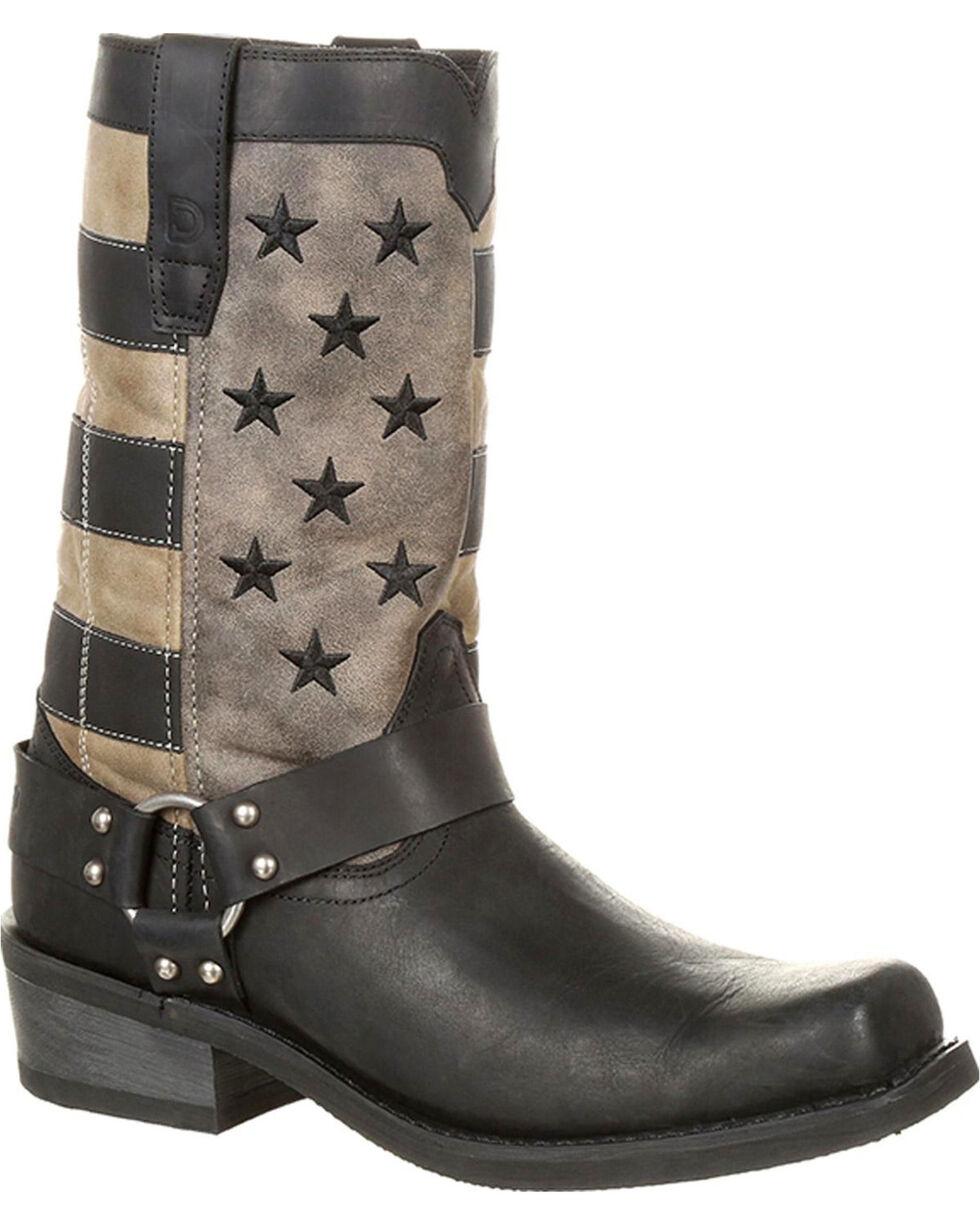 Durango Men's Black Faded Flag Harness Boots - Square Toe , Black, hi-res