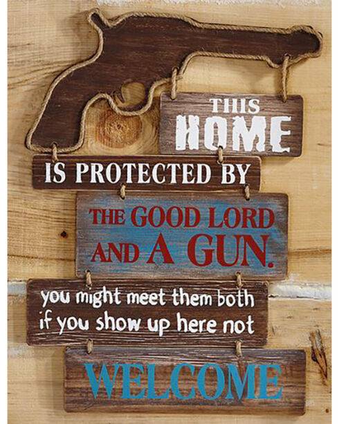 """Giftcraft Brown """"This Home Is..."""" Western Rope and Gun Wall Sign , Brown, hi-res"""
