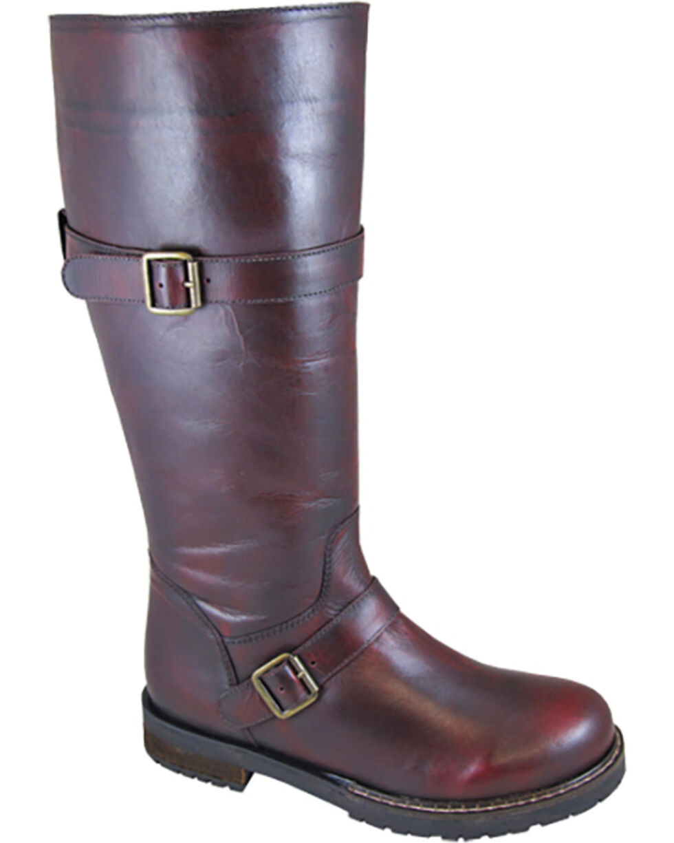 Smoky Mountain Women's Alyssa Tall Riding Boots - Round Toe , Burgundy, hi-res
