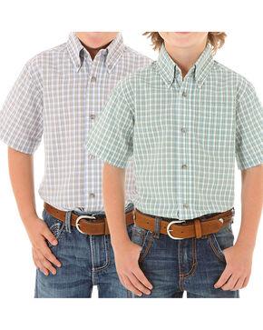 Wrangler Boys' Riata Short Sleeve Western Shirt , Multi, hi-res