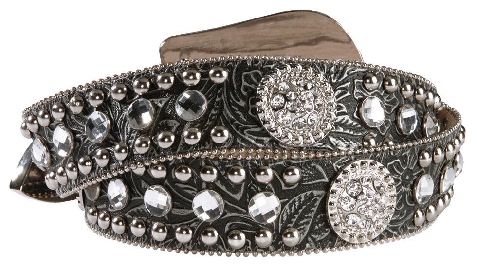 Blazin Roxx Black Tooled Concho Belt, Black, hi-res