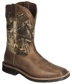 Justin Stampede Camo Waterproof Pull On Work Boots Sheplers