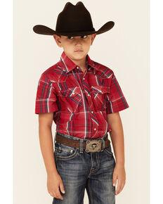 Wrangler Boys' Red Dobby Plaid Short Sleeve Snap Western Shirt , Red, hi-res