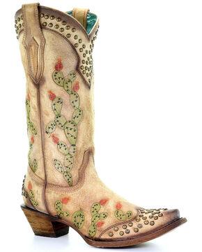 Corral Women's Nopal Cactus Western Boots - Snip Toe, Tan, hi-res