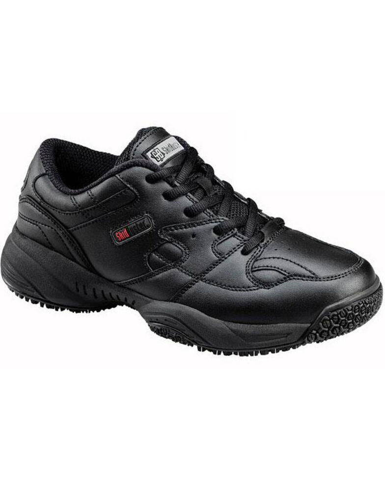 SkidBuster Women's Waterproof Lace-Up Work Shoes, Black, hi-res
