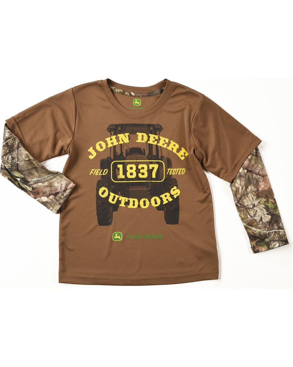 John Deere Boys' Brown Camo Outdoors Tee , , hi-res