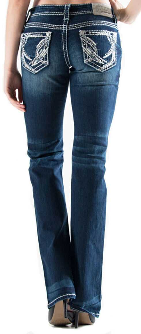 Grace in LA Women's Dark Wash Abstract Easy Fit Bootcut Jeans , , hi-res