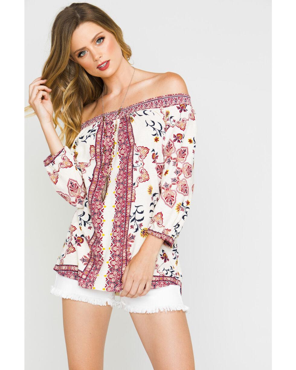 Shyanne Women's Floral Print Off The Shoulder Knit Top, Burgundy, hi-res