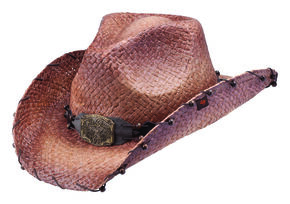 Peter Grimm Revelation Raffia Straw Cowboy Hat, Brown, hi-res