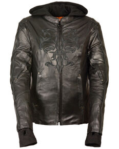 Milwaukee Leather Women's 3/4 Leather Jacket With Reflective Tribal Detail - 3X, Black, hi-res