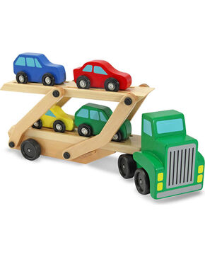 Melissa & Doug Boys' Wooden Car Carrier Toy Set , No Color, hi-res