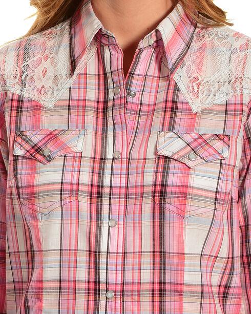 Wrangler Women's Lace Plaid Long Sleeve Western Snap Shirt, Cream, hi-res