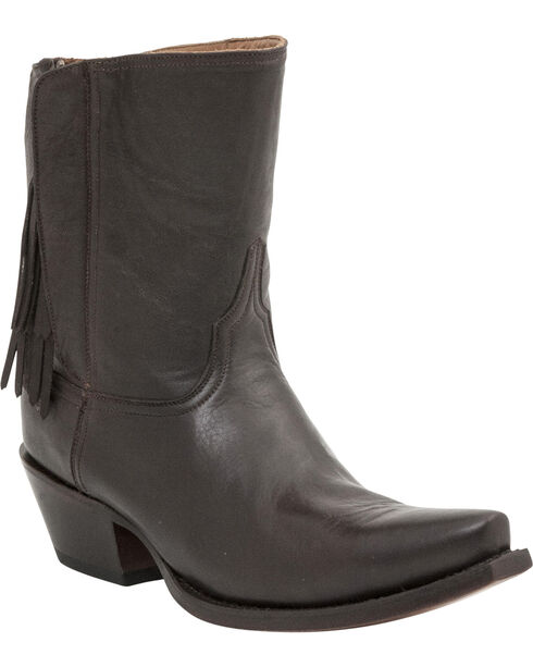 Lucchese Handcrafted 1883 Women's Flannery Fringe Zipper Boots - Snip Toe, Dark Brown, hi-res