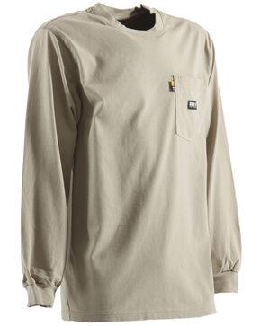 Berne Khaki Long Sleeve Flame Resistant Crew Neck T-Shirt - 5XL and 6XL, Khaki, hi-res