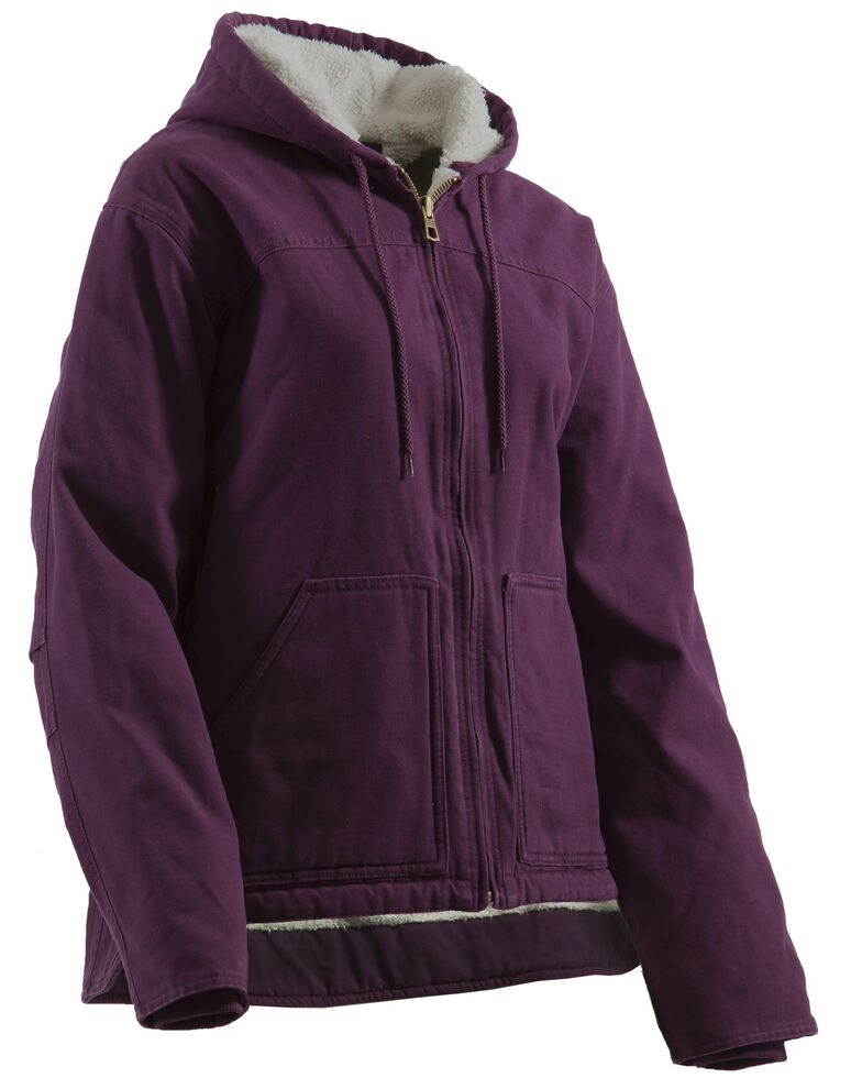 Berne Women's Washed Sherpa-Lined Hooded Coat - Tall, Plum, hi-res