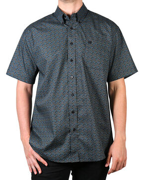 Cinch Men's Paisley Short Sleeve Shirt, Black, hi-res