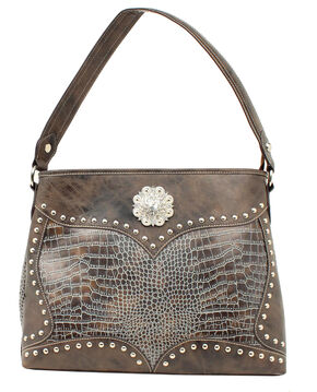 Blazin Roxx Croc Print Concho Concealed Carry Shoulder Bag, Blue, hi-res