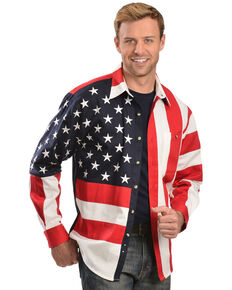 Rangewear by Scully Patriotic American Flag Western Shirt, Multi, hi-res