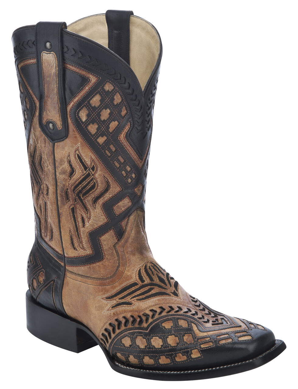 Corral Overlay Cowboy Boots - Square Toe, Antique Saddle, hi-res