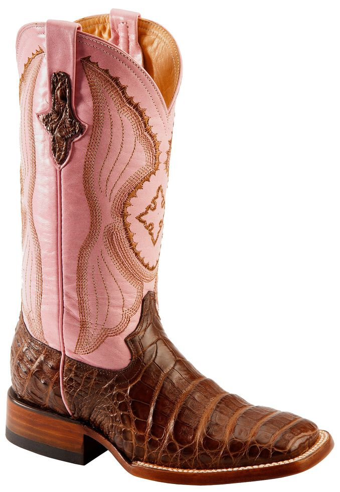 Ferrini Blush Pink Caiman Belly Cowgirl Boots - Wide Square Toe, Chocolate, hi-res