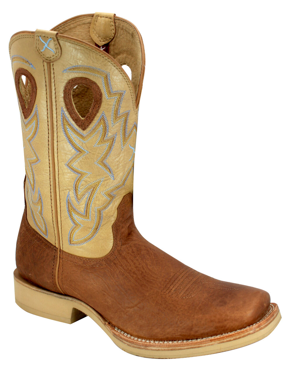 Twisted X Tan and Brown Horseman Cowboy Boots - Square Toe, Brown, hi-res