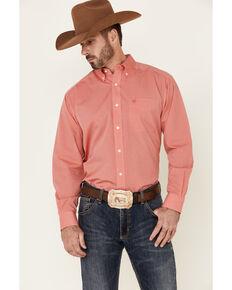 Ariat Men's Wrinkle Free Solid Dark Pink Oxford Long Sleeve Button Western Shirt , Pink, hi-res