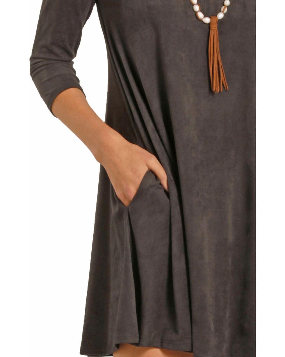 Rock & Roll Cowgirl Women's Dark Grey Micro Suede Swing Dress , Dark Grey, hi-res