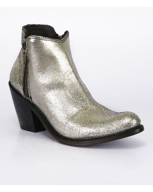 Liberty Black Women's Cracked Metallic Booties - Pointed Toe , Gold, hi-res