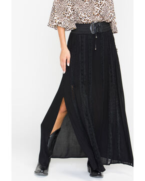 Shyanne® Women's Long Peasant Skirt, Black, hi-res