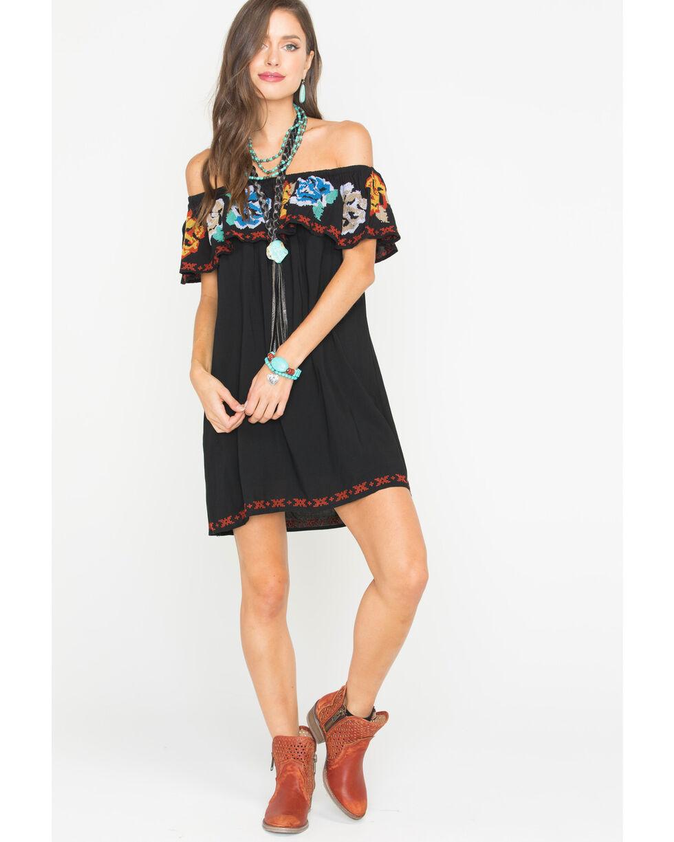 Panhandle Women's Black Flounce Dress , Black, hi-res