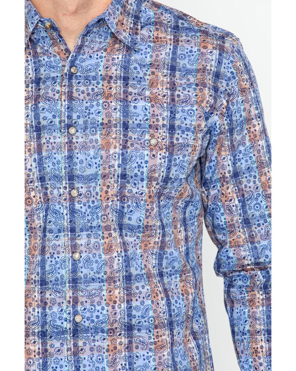 Wrangler Retro Men's Paisley Plaid Long Sleeve Snap Shirt, Blue, hi-res