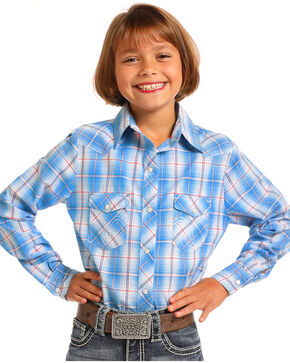 Panhandle Girls' Blue Plaid Long Sleeve Snap Shirt, Blue, hi-res