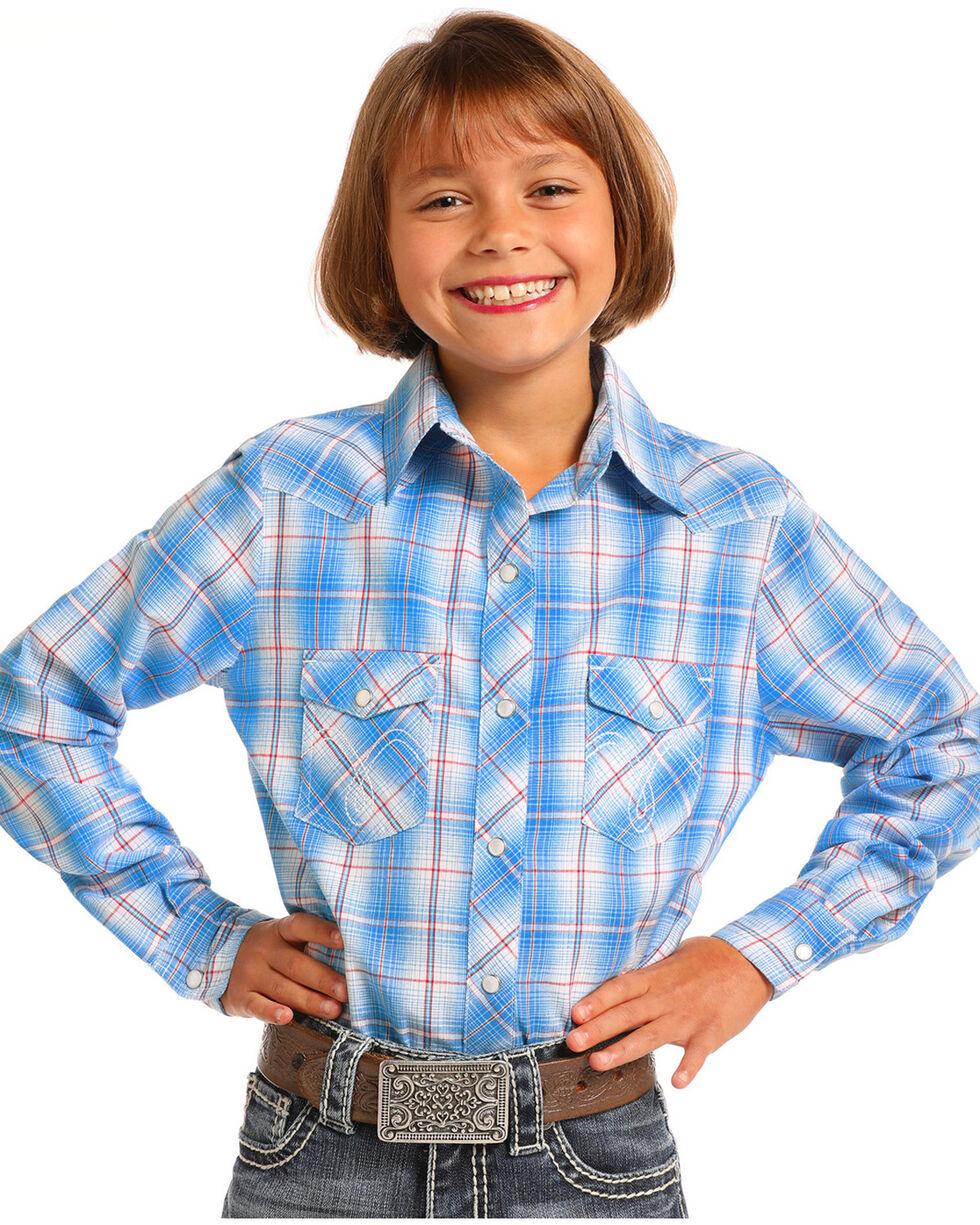 Panhandle Girls' Blue Plaid Long Sleeve Snap Shirt, Blue, hi-res
