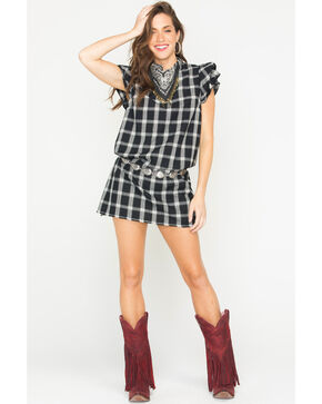 Ces Femme Women's Black Plaid Ruffle Sleeve Dress, Black, hi-res