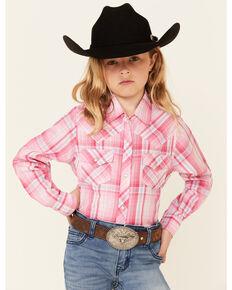 Ely Walker Girls' Pink Plaid Long Sleeve Snap Western Shirt , Pink, hi-res