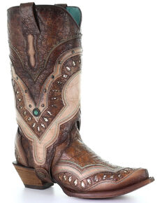 Corral Women's Embroidery & Studs Western Boots - Snip Toe, Brown, hi-res