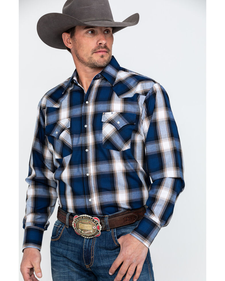0e3f570ba9e Ely Cattleman Assorted Men s Textured Plaid Long Sleeve Western Shirt -  Tall
